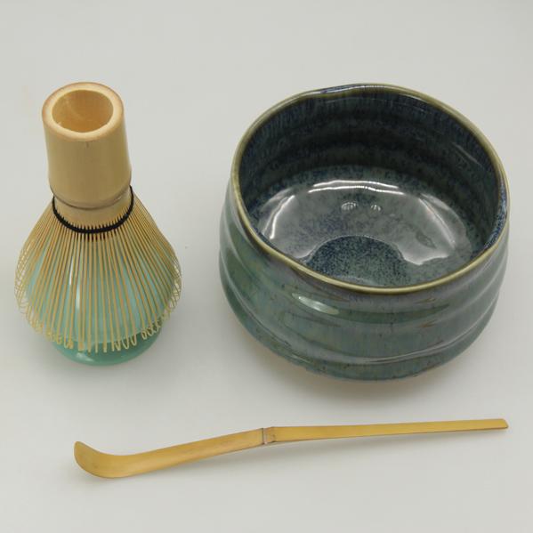 matcha bowl, whisk and bamboo spoon set