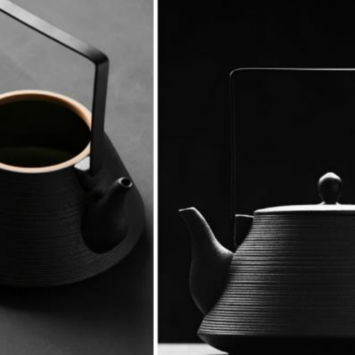 square handle teapot