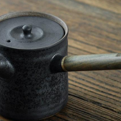 gongfu wooden handle tea pot